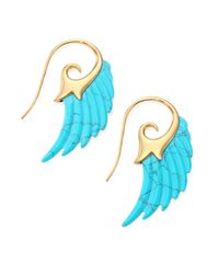 Noor Fares - Blue Fly Me To The Moon Turquoise & 18k Yellow Gold Wing Earrings - Lyst