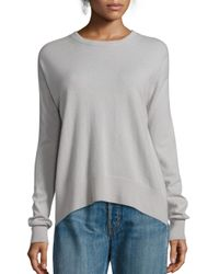 VINCE | Gray Boxy Cashmere Pullover | Lyst