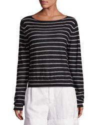 VINCE | Black Striped Cashmere Boatneck Sweater | Lyst