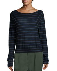 VINCE | Blue Striped Cashmere Boatneck Sweater | Lyst