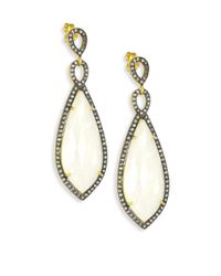 Chan Luu | Metallic Moonstone & Lab White Topaz Drop Earrings | Lyst