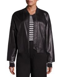 Vince   Black Leather Drop Shoulder Bomber Jacket   Lyst