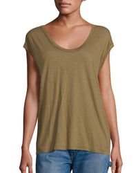 VINCE | Green Solid Muscle Pima Cotton Tee | Lyst