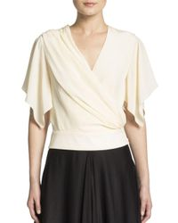 Lanvin | White Flutter Sleeve Top | Lyst