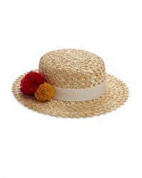 Eugenia Kim | Natural Brigitte Pom-pom Boater Hat | Lyst