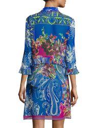 Etro - Blue Ruffle Long Silk Tunic Coverup - Lyst