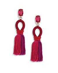 Oscar de la Renta | Red Short Gradient Silk Tassel Earrings | Lyst
