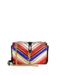 Saint Laurent   Red Medium College Monogram Metallic Leather Shoulder Bag   Lyst