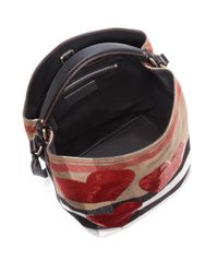 Burberry - Red Ashby Medium Sequin Heart & House Check Bucket Bag - Lyst