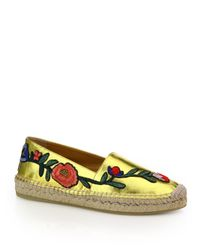 Gucci | Gray Pilar Floral-embroidered Metallic Leather Espadrilles | Lyst