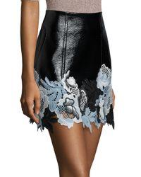 3.1 Phillip Lim - Black Floral Lace Hem Vinyl Skirt - Lyst