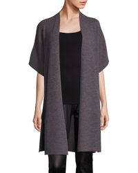Eileen Fisher | Gray Merino Wool Rib-knit Cardigan | Lyst
