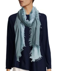 Eileen Fisher | Blue Wool, Silk & Cashmere Ombre Scarf | Lyst