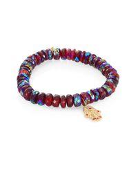 Sydney Evan | Red Hamsa Diamond, Ruby & Rhodolite Garnet Beaded Bracelet | Lyst