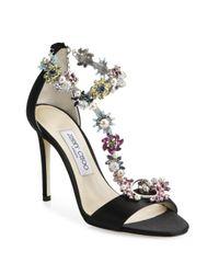 Jimmy Choo | Black Reign 100 Crystal-embellished Satin T-strap Sandals | Lyst