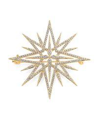 Adriana Orsini | Metallic Holiday Pave Crystal Star Brooch | Lyst