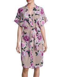Fleur du Mal | Pink Printed Silk Robe | Lyst