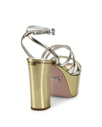 Prada | Metallic Leather Platform Sandals | Lyst