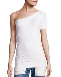 Helmut Lang | White One-shoulder Tee | Lyst
