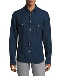 Saks Fifth Avenue | Blue Long Sleeves Linen Shirt for Men | Lyst