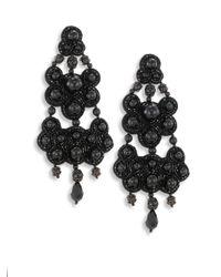 Tory Burch Women S Black Leather Backed Beaded Chandelier Earrings