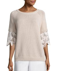 See By Chloé | Multicolor Knit & Lace Pullover | Lyst