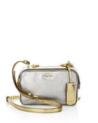 Miu Miu | Multicolor Two-tone Metallic Madras Leather Double-zip Crossbody Bag | Lyst