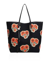 Alexander McQueen | Black Skull Open Rose-print Canvas Shopper | Lyst