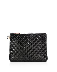 MZ Wallace | Black Metro Quilted Oxford Patent Leather Pouch | Lyst