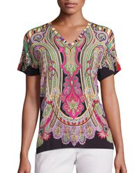 Etro | Black Paisley Printed Top | Lyst