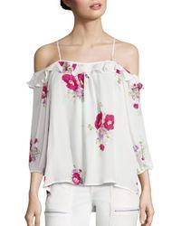 Joie | Multicolor Birtha Floral-print Cold-shoulder Silk Top | Lyst