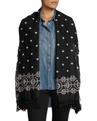 The Kooples | Black Bandana Embroidered Scarf | Lyst