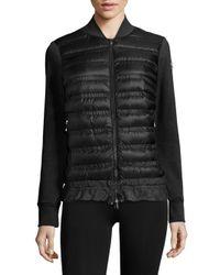 Moncler | Black Maglia Knit Down Jacket | Lyst