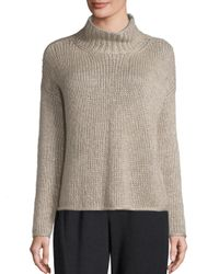 Eileen Fisher | Multicolor Silk & Cashmere Blend Knitted Top | Lyst