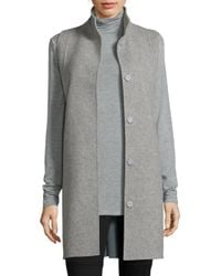 Eileen Fisher | Blue Double Face Wool-blend Vest | Lyst