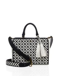 Tory Burch | Black Robinson Woven Leather Tote | Lyst