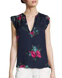 Joie | Blue Mirabelle Silk Floral-print Top | Lyst