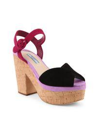 Prada - Multicolor Tri-tone Suede & Cork Platform Sandals - Lyst