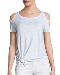 Generation Love   White Kendall Cold-shoulder Knot Linen Tee   Lyst