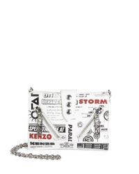 KENZO - White Kalifornia Badge Patch Leather Chain Wallet - Lyst