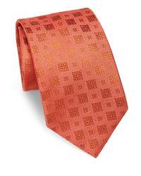 Charvet   Orange Textured Square Silk Tie for Men   Lyst