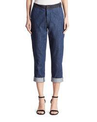 Miu Miu | Blue Denim Patch Jeans | Lyst