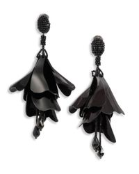 Oscar de la Renta | Black Large Impatiens Flower Clip-on Earrings | Lyst