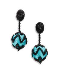 Oscar de la Renta | Blue Beaded Chevron Pom-pom Clip-on Earrings | Lyst