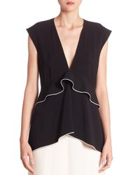 Proenza Schouler | Black Deep V-neck Waisted Top | Lyst