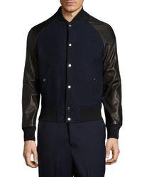 AMI | Blue Teddy Leather & Wool Varsity Jacket for Men | Lyst