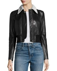 Helmut Lang | Black Cropped Shearling & Leather Jacket | Lyst