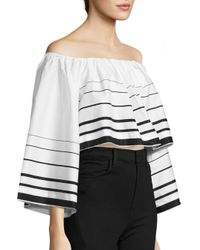 Kendall + Kylie - Black Printed Off-the-shoulder Top - Lyst