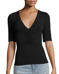 T By Alexander Wang - Black Shirred V-neck Tee - Lyst