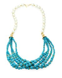 Kenneth Jay Lane | Blue Faux Pearl & Turquoise Multi-strand Necklace | Lyst